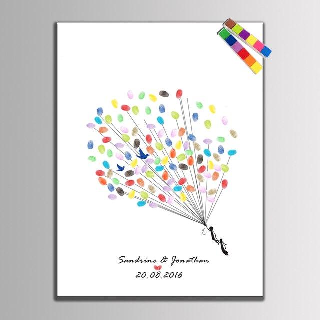 HAOCHU Leinwand Hochzeit Baum Liebe Vogel Fingerprint Unterschrift Event  Einladung Buch Hochzeit Geschenk Party Baby Shower