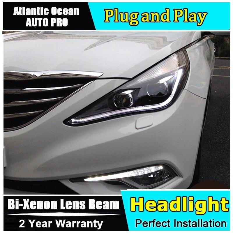 Car Styling For Hyundai Sonata led headlights sonata8 head lamps 2011-2014 Angel eye led drl HID KIT Bi-Xenon Lens low beam