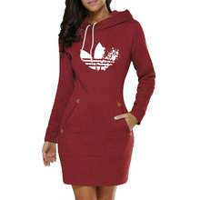 Fashion Women Hoodie Dress Autumn and Winter New Long Sleeve Pullover Casual