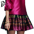 DayLook Púrpura rojo Raya de La Vendimia Mini Falda de La Alta Calidad de La Manera Mujeres de Rayas Mujeres de Bola de La Falda Corta Ocasional Faldas