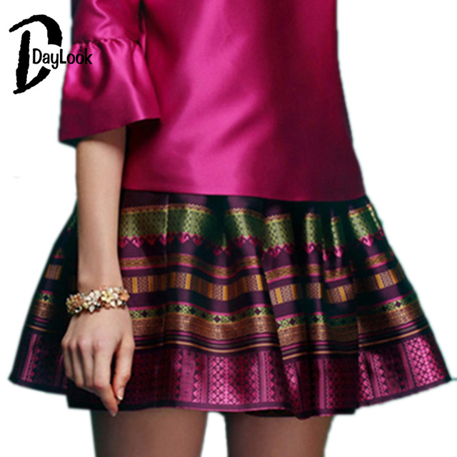 DayLook Purple red Vintage Stripe Mini Skirt High Quality Fashion Women Striped Women Ball Gown Skirt Casual Short Skirts