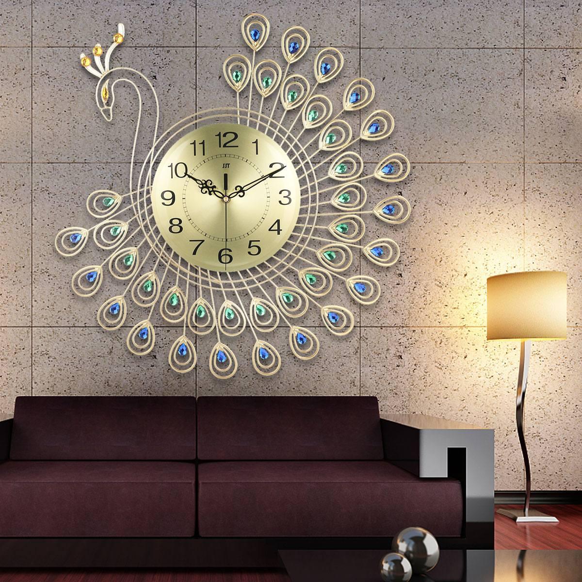 Grand 3D or diamant paon horloge murale en métal montre pour la maison salon décoration bricolage horloges artisanat ornements cadeau 53x53cm
