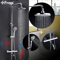 Frap Shower Faucets bathroom thermostatic shower faucet mixer with thermostat rainfall shower panel set bath shower mixer faucet