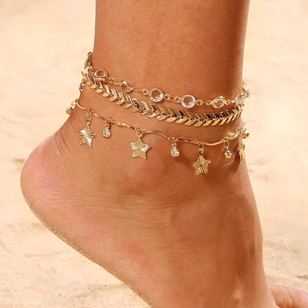 3 шт./компл. золотой цвет кристаллическая звезда женские браслеты на босую ногу вязаный пляжный лиф босоножки Украшенные бижутерией новые ботильоны браслеты для женщин Свадебные