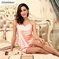 2017 Summer Solid Satin Silk Lace Strap Pyjama Femme Short Woman Sleepwear Sexy Pajamas Ladies Sexy Nightwear Pink Shorts Pjs
