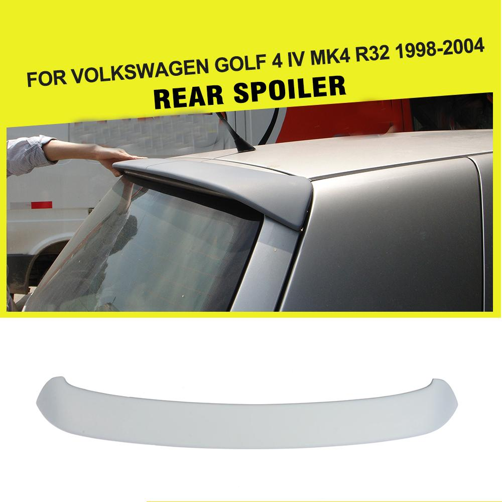 Rear Roof Spoiler Window Lip Wing Car Sticker For Volkswage VW Golf 4 IV MK4 Standard and R32 1998-2004 PU Unpainted Grey pu grey front lip chin spoiler bumper guard for volkswagon vw golf 4 iv mk4 standard 1998 2004 non gti car styling