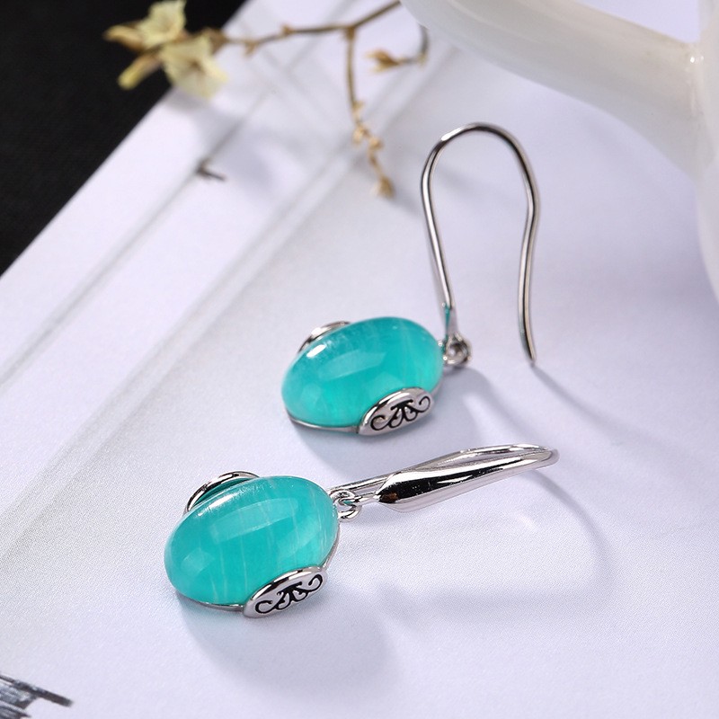 100% 925 Sterling Silver Natural Blue Amazonite Drop Earrings Vintage Engraved Patterns Women Dress Brincos Ethnic Jewelry Gifts