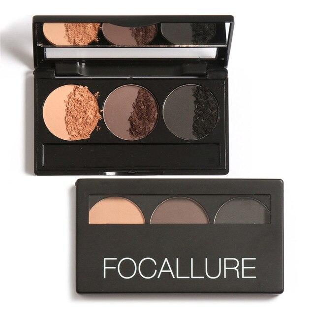 Focallure Eye Brow Eyebrow Powder Makeup Kit Set 3 Colors Waterproof