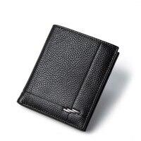 Business Men Wallets Leisure Genuine Leather Men Wallet Cion Purse Cowhide Card Holder Pocket