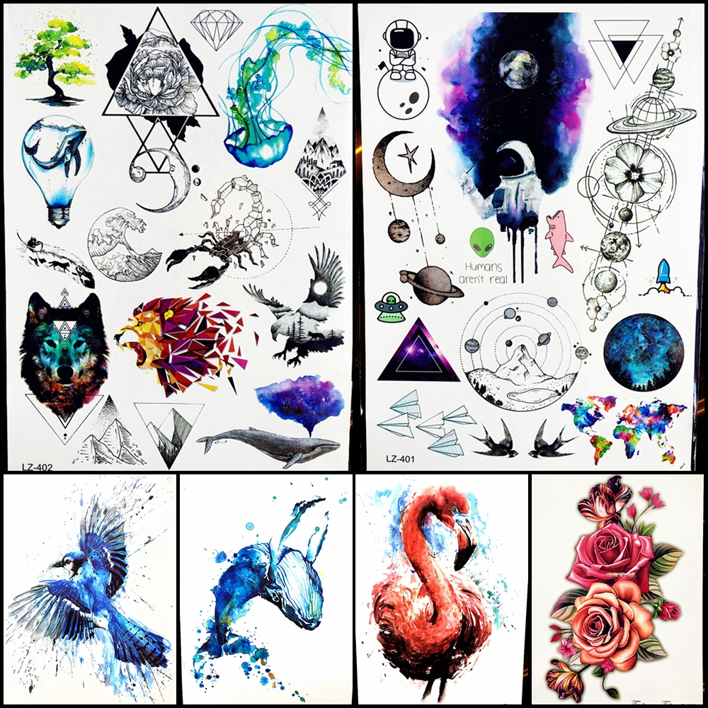 Marine Animal Temporary Tattoo Sticker Colorful Triangle Hill Geometric Lion Water Trasfer Tattoo Body Art Diamond FLower Whale