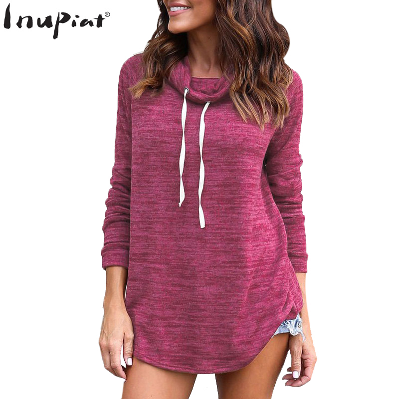 Autunm Winter Sweatshirts for Women 2018 Casual Style Long Loose Pullover Hoodies for Female Soft Cotton Drawstring Hoody Ladies
