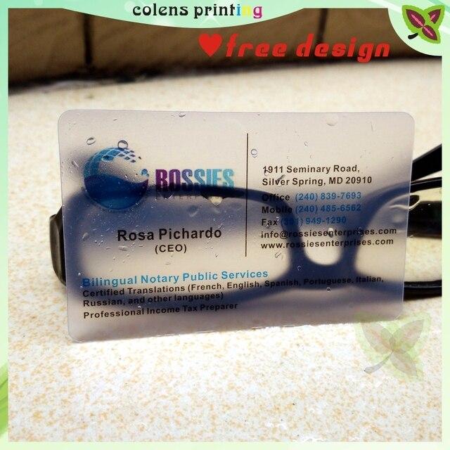 Impression De Cartes Visite Personnalisees Plastique Transparent Pvc Carte Etanche