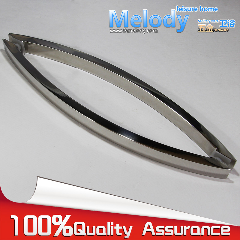 H010 Frameless Shower Door Square tube Moon Bend Handle  304 stainless steel Polish Chrome C-C:400mm