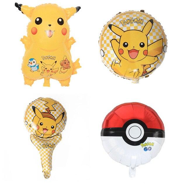 10PcsHot Pokemon Go Balloon Cute Pikachu Cartoon Party Birthday Balloon Pokemon Balloon Yellow Mylar Kids Balloon InflatableToys