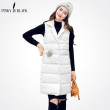 Pinky Is Black 2017 Women Winter Vest Waistcoat New Long Sleeveless Jacket Suit Collar Down Cotton Warm Female