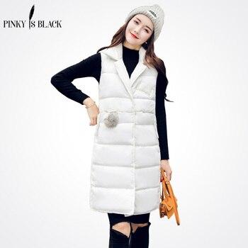 PinkyIsBlack 2018 Women Winter Vest Waistcoat New Long Sleeveless Jacket Suit Collar Down Cotton Warm Female