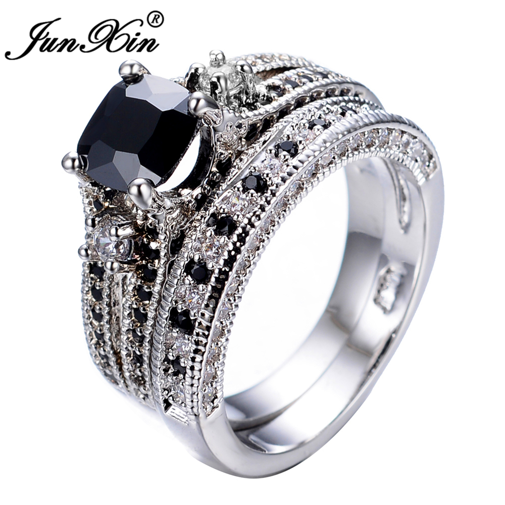 junxin luxury female black ring set high quality fashion white gold filled jewelry vintage wedding engagement rings for women