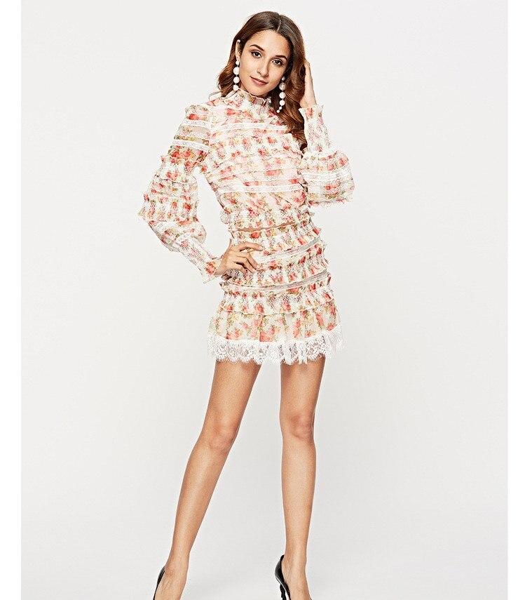 2019 printemps femmes imprimé Floral jupe costumes décontracté dentelle Patchwork court Blouse avec Mini jupes deux pièces ensembles