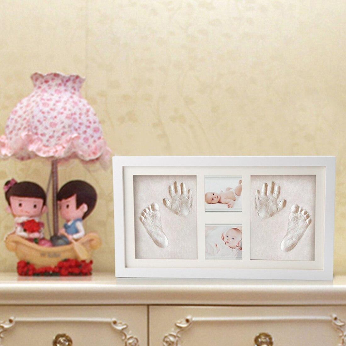 Mignon bébé cadre photo à faire soi-même handprint ou empreinte argile douce sûr encreur non toxique cadeau de cérémonie pour bébé