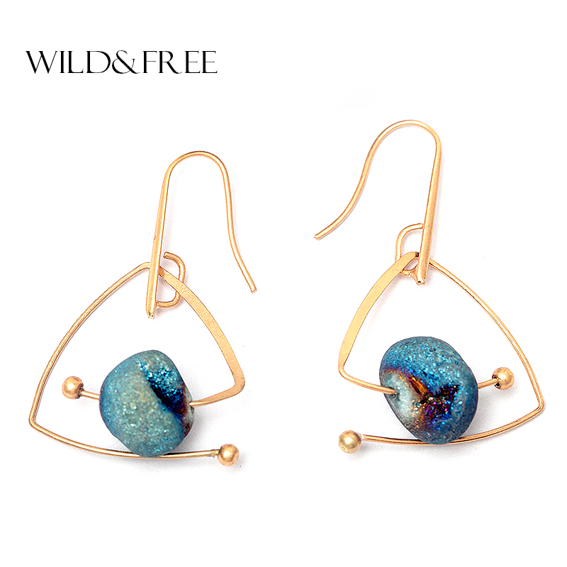 Wild & Free Hot Blue Natursten Drop Drop Earrings For Women Vintage Gold Copper Triangle Geometric Dangle Earring Smycken Partihandel