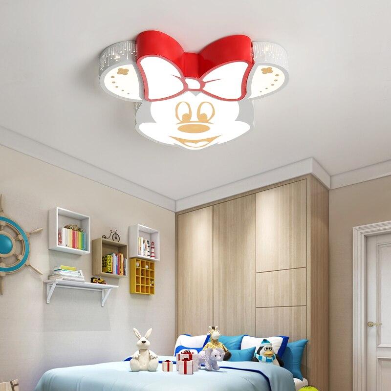 moda dos desenhos animados led lustre lampada do teto do quarto bonito crianca mickey ac85 265v