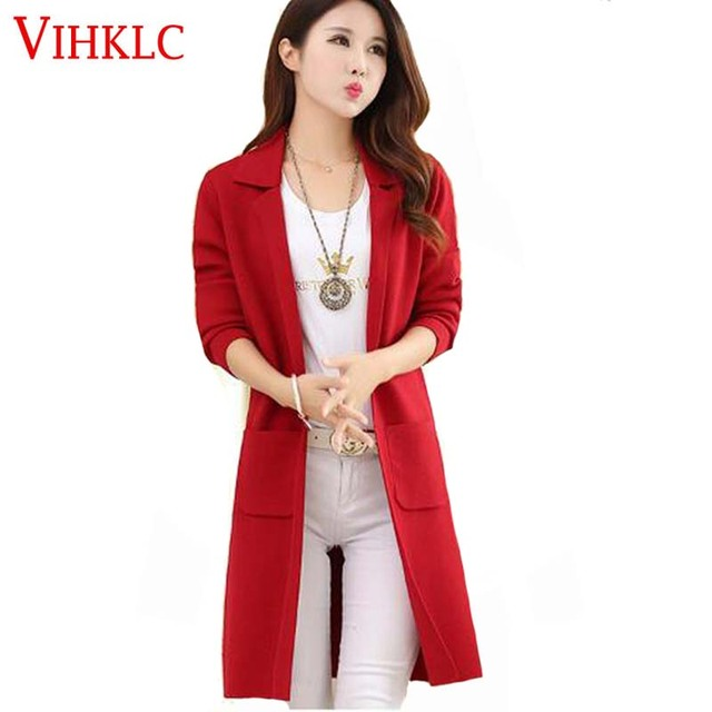 Autumn New Fashion Sweaters Coat Medium long Knitting Cardigan Female  Sweaters Women Long sleeve Sweaters Coat Bi yards H290 18e6e6917