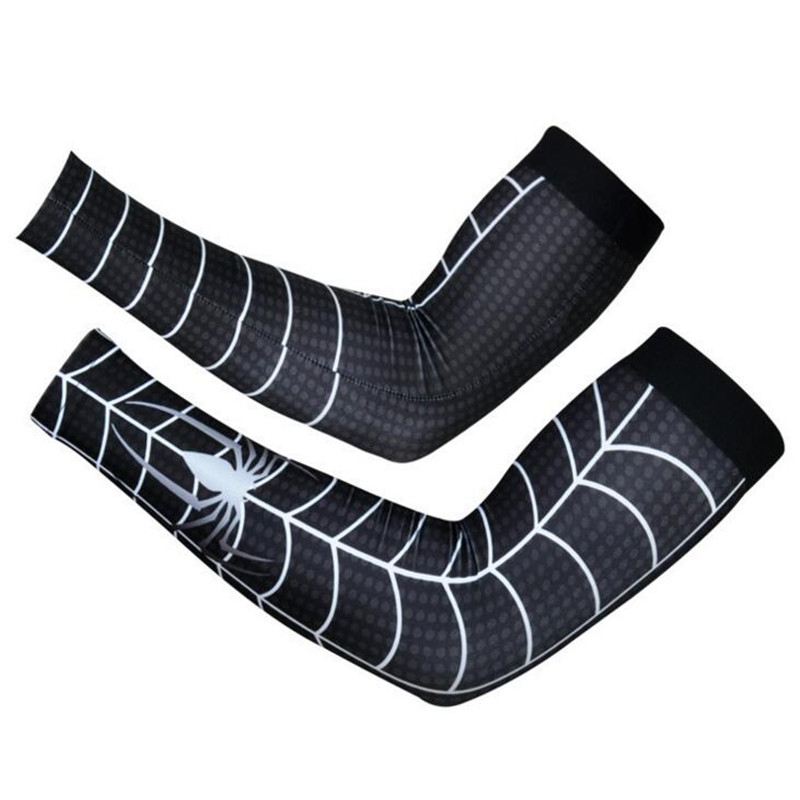 2019 Hot Sale Summer Sun UV Cycling Gloves Bike MTB Riding Glove Superman Spiderman Arm cuff Sleeves Lycra Bicycle Arm Covers in Cycling Gloves from Sports Entertainment