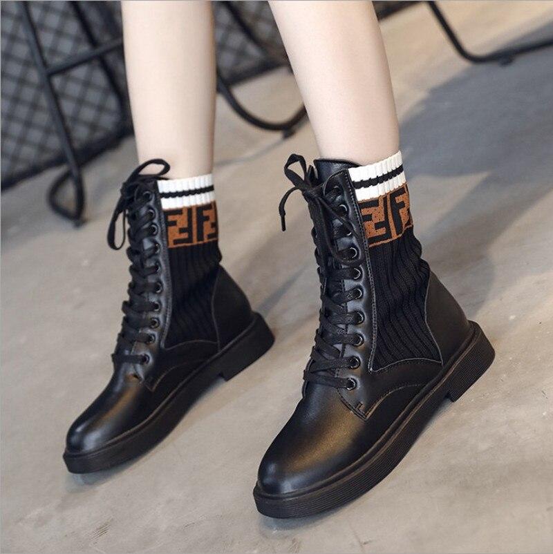 2018 Américain Bottes Nouvelle Mode Chaud Et Style Chaussures Étudiant Casual Noir Martin Européen Bottes Chaussette De Femmes 8dF8wrqx
