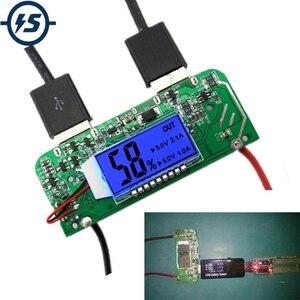 Mobilny powerbank ładowarka pcb pokładzie podwójny USB 5V 2.1A 1A zwiększyć zwiększona moc moduł wyświetlacz led dla 18650 baterii DIY 65*2