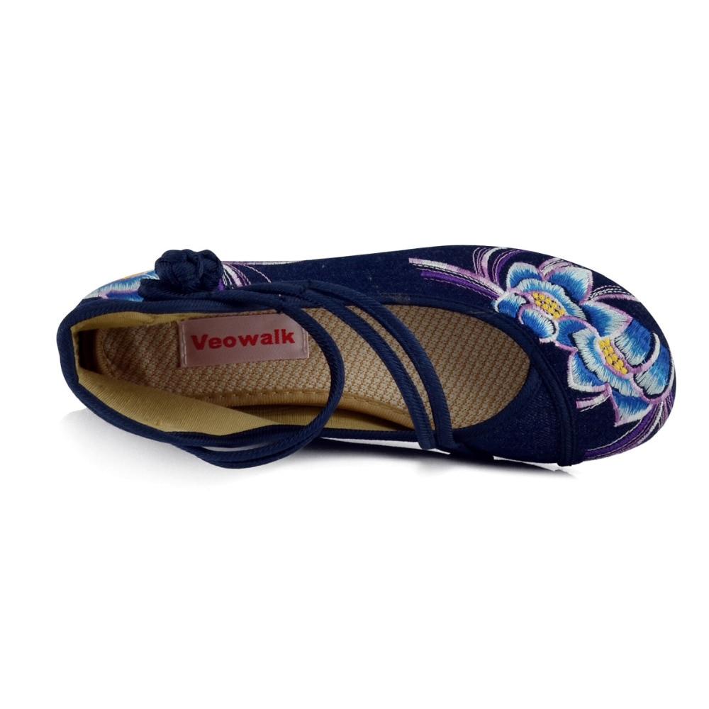 Image 4 - Veowalk zapatos de Ballet informales para mujer con flores bordadas a mano, zapatos de algodón de mezclilla suave para mujer con correa en el tobilloballet flatscotton shoesankle strap -