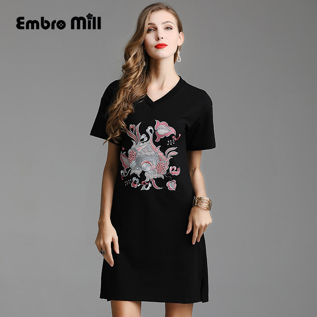 High-end Chinese style floral summer women Chinese style Catwalk dress embroidery dresses elegant loose lady fashion dress S-3XL