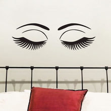 Hot Eyes Wall Decals Vinyl Stickers Sexy Girl Eyelashes Makeup Wall Stickers Adhesive Beauty Salon Wall Decoration(China)