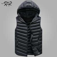 Winter Sleeveless Jacket Men Casual Down Vest Men Warm Thick Hooded Coats Male Cotton Pad Men's Work Waistcoat Gilet Homme L 4XL