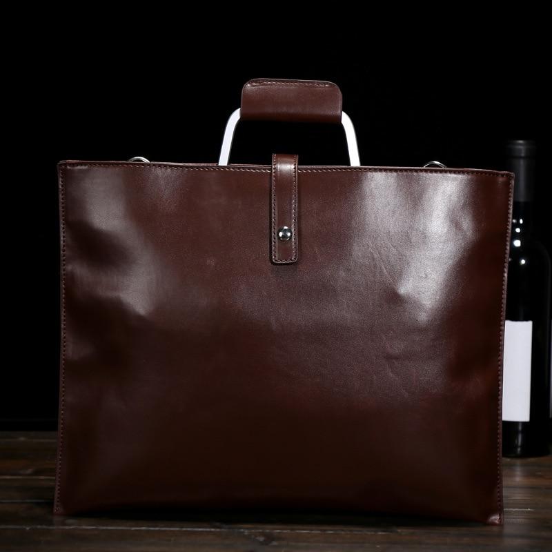 ФОТО Men Handbags Shoulder Messenger Briefcase Korean Version Vintage Waterproof Paper Bags Coffee Color