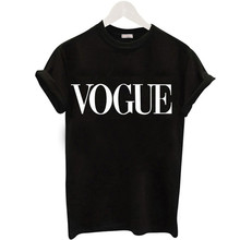 VOGUE Letter Print Tshirt Harajuku Women Plus Size Casual T-shirt New Fashion Female Tees Tops 2019 Korean Style Summer T-shirts