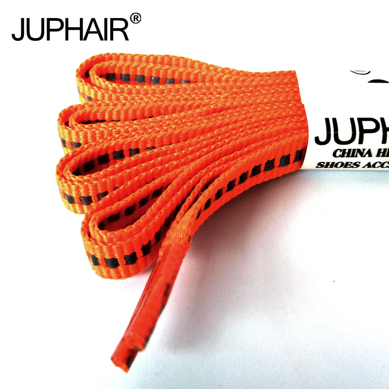 JUP1-12Pair Orange Unisex Shallow Reflective Shoelaces Safety Shoelaces Invisible Shoelaces for Running Sport Sneaker Basketball