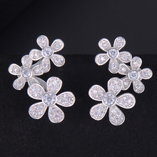 SisCathy Romantic Luxury Blooming Flowers Silver Earrings for Women Bridal Wedding Jewelry Accessories