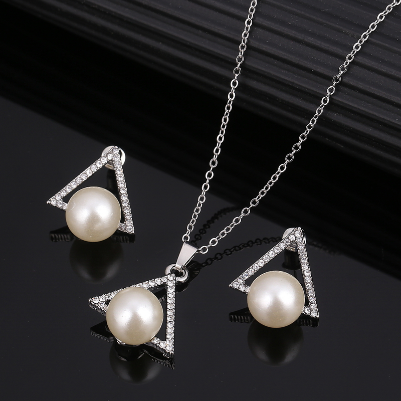 ZOSHI African bridal Gold Silver Plated jewelry set imitation pearl for women necklace earring set wedding party crystal jewelry