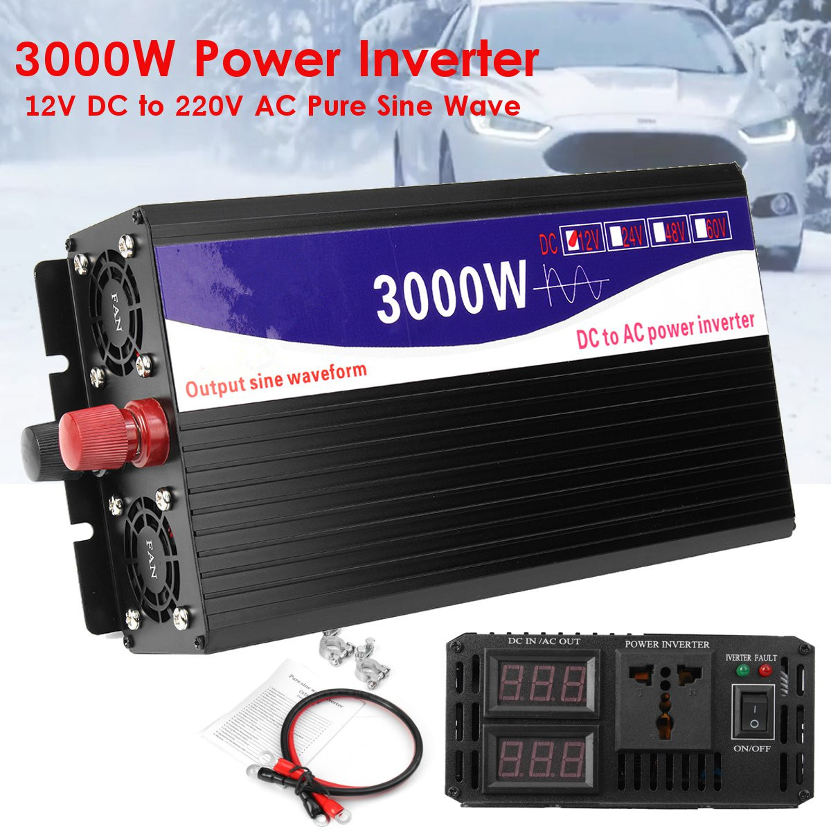 Voiture 3000 w Power Inverter Affichage LED 12 v DC à 220 v AC Onde sinusoïdale Pure Convertisseur Émetteur Transformateur onduleur