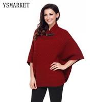YSMARKET Stylish Warm High Neck Waffle Knit Poncho Half Kimono Sleeves Loose Casual Sweaters Women Autumn