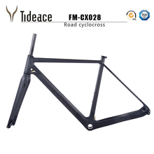 2019 Tideace Tapered disc brake Di2 Chinese CX Carbon Cyclocross Frame with fork thru axle GRAVEL bike frame max 40C tire