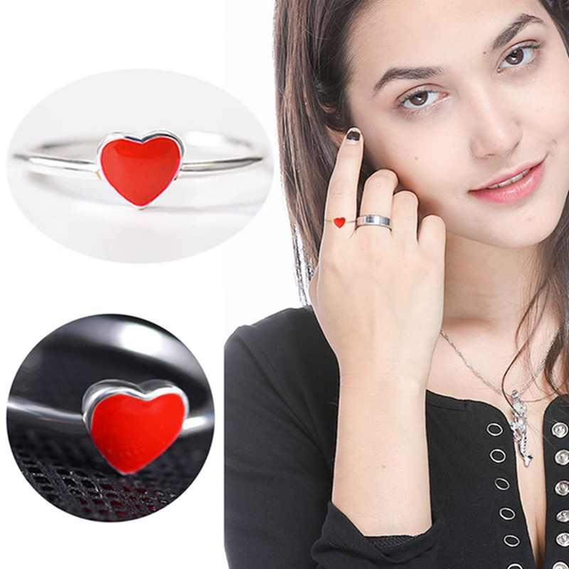 1 قطع جديد القادمين فضي اللون خواتم ليتل الأحمر القلب حلقة مفتوحة لل فتاة النساء هدية مجوهرات
