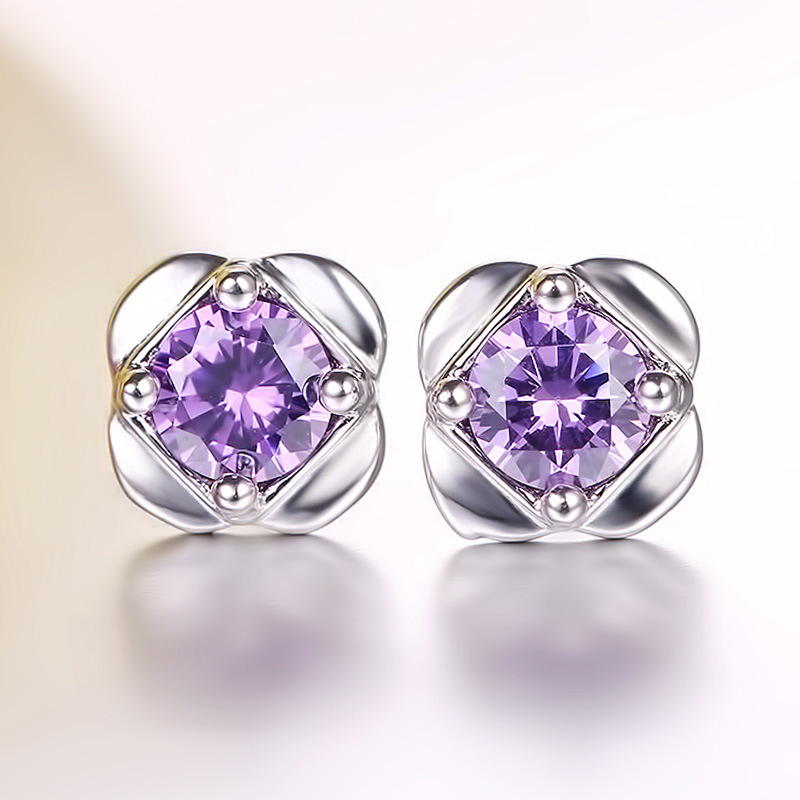 JS Grils Small Rhinestone Amatista Purple Crystal Clip Stud Earrings Sets Female Silver Jewelery Women Pendientes Largos SE008