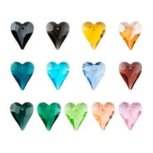 21mm 8pcs/pack crystal Wild Heart Pendant colorful Austria glass heart shape beads rhinestone for Jewelry making DIY