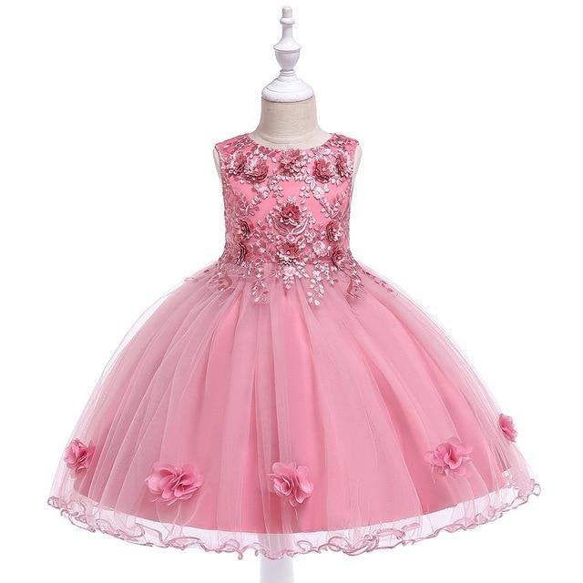 Retail Kids Girl Embroidery Birthday Princess Party Dress Girls Elgent Ball Gown Dress Christmas Dress L5061