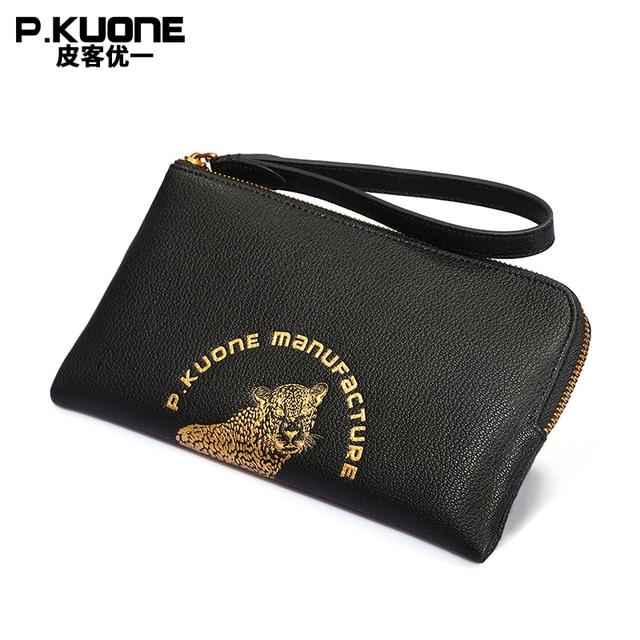 1fe49aa56f85 P.KUONE Animal Prints Leopard Head Design Luxury Men Clutch Bag Long men  wallet Double