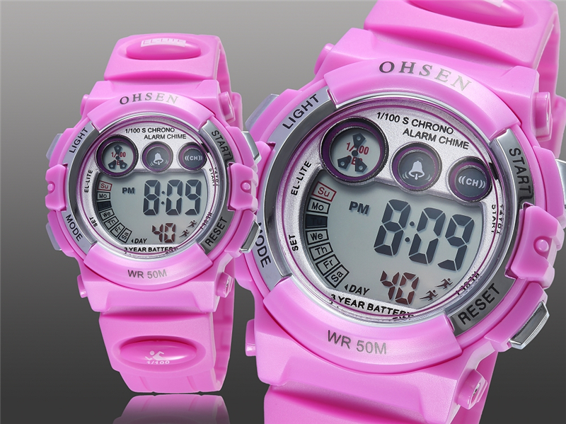 OHSEN Fashion Children Sports Watches Waterproof 5ATM Kids LED Digital Watch Student Outdoor Hand Electronic Clock Montre Femme (16)