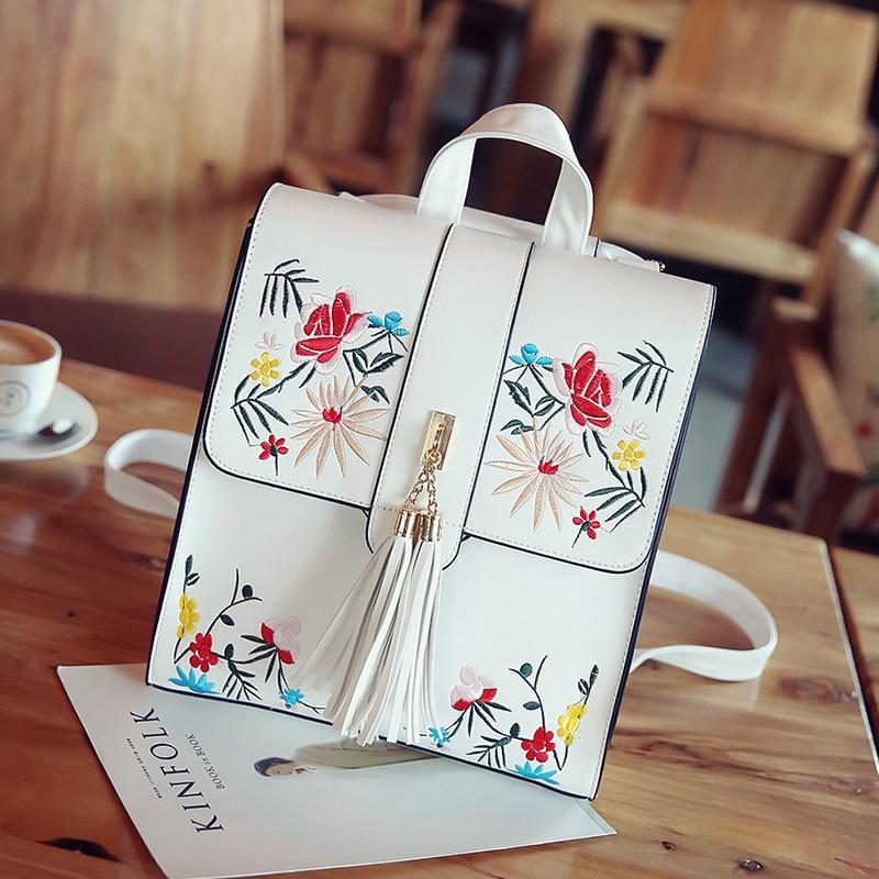KMFFLY Women Backpack High Quality Flower Tassels Leather Sac A Main School Bag For Teenagers Girls