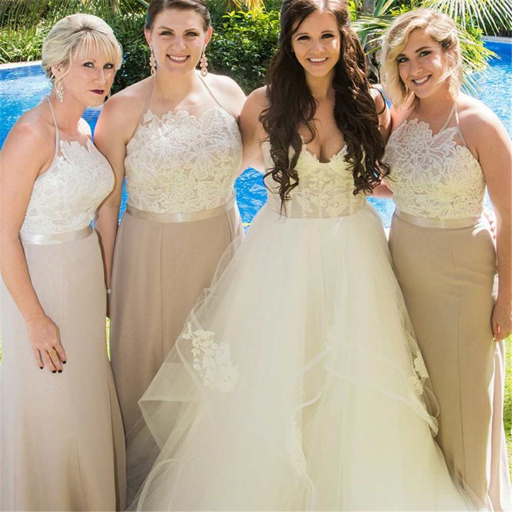 Long Champagne Bridesmaid Dresses