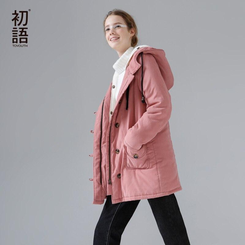 ФОТО Toyouth Winter Coat Women 2017 Autumn Hooded Zipper Long Slim Solid Parkas Cotton Padded Jacket